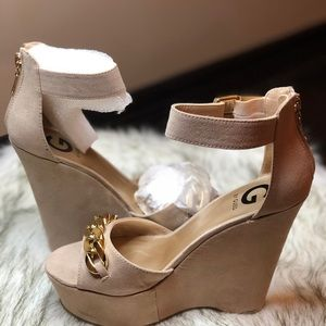 G by GUESS Light Tan suede wedges.